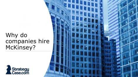 the image is the cover of an article on why companies hire mckinsey and others