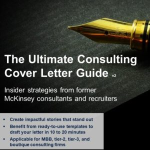 the image is the cover of the strategycase.com consulting cover letter guide