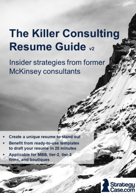 the image is the cover of the strategycase.com consulting resume guide