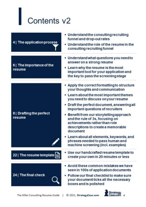 the image is the table of contents of the strategycase.com consulting resume guide
