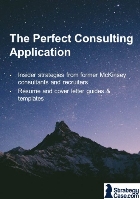 the image is the cover of the strategycase.com cover letter and resume guide for mckinsey, bcg, and bain