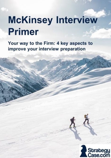 The image is the cover of a how to for mckinsey case and mckinsey pei interviews