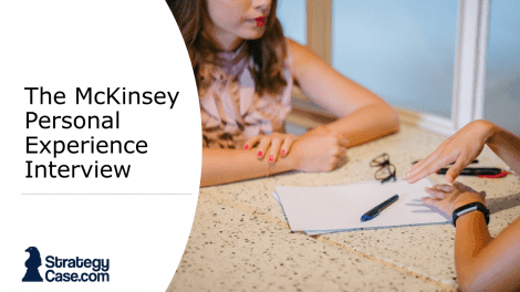 The image shows two women during the McKinsey Personal Experience Interview