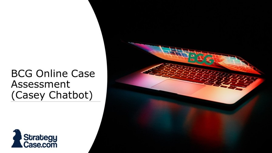 the image is the cover of an article on the bcg online case and bcg online case assessment chatbot interview