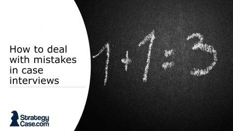 the image is the cover of an article on how to deal with mistakes during case interviews