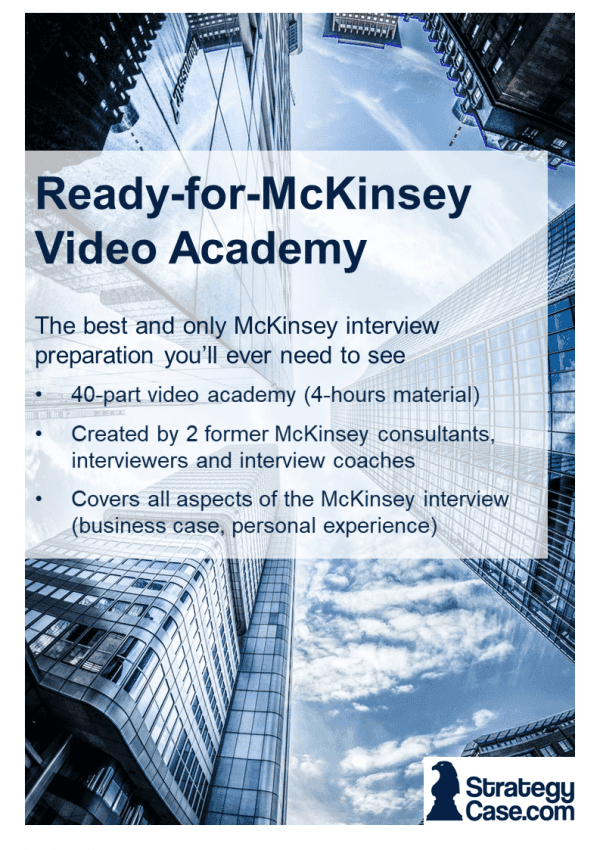 the image is the cover of the ready for mcKinsey Case Interview Consulting video academy