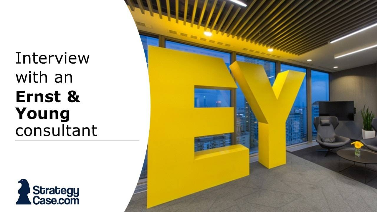 the image is the cover of an interview with an ernst and young consultant