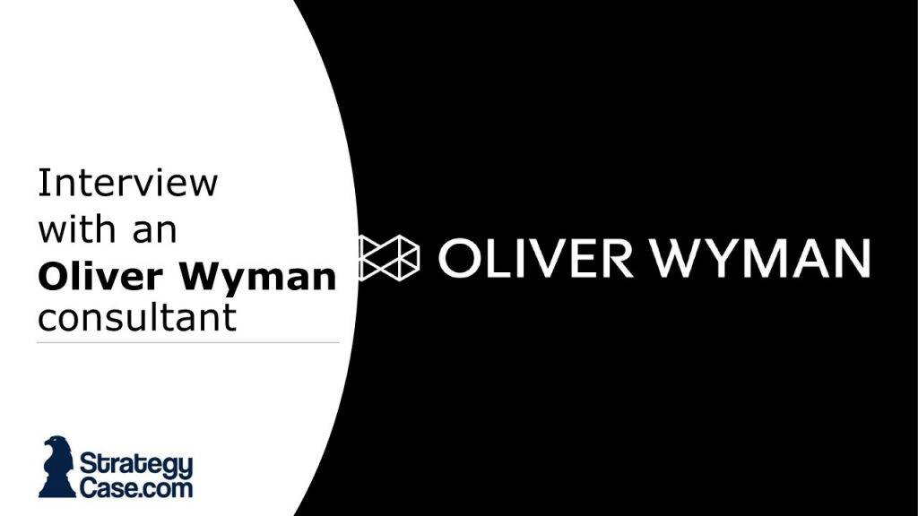 the image is the cover of an interview with an oliver wyman consultant