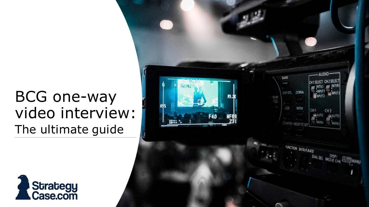 the image depicts the cover on a guide for the BCG one-way video interview and shows a camera