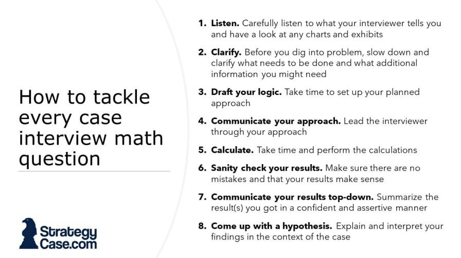the image shows an 8-step process of how to approach every case interview math question in McKinsey, BCG, and Bain interviews