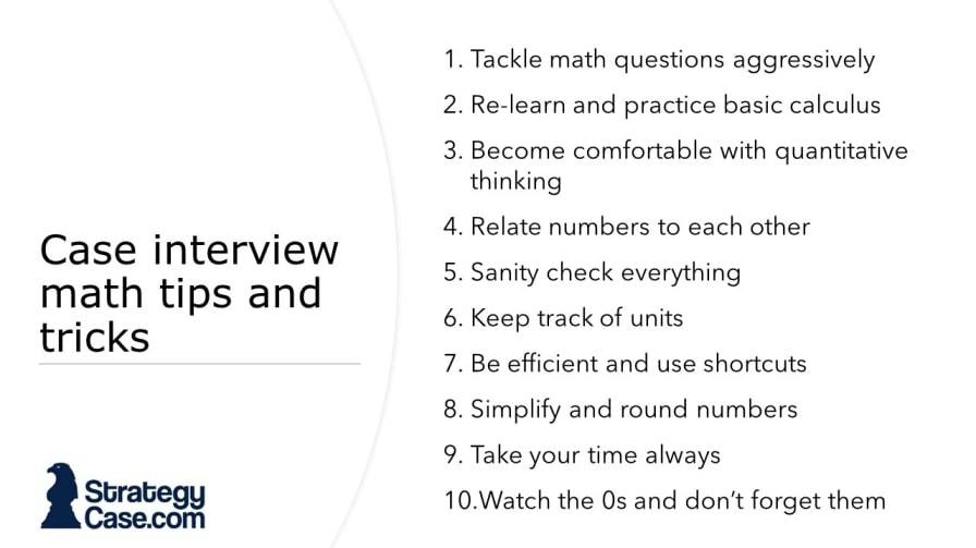 the image is a list of tips and tricks that increase the performance in a consulting case interview for McKinsey, BCG, and Bain