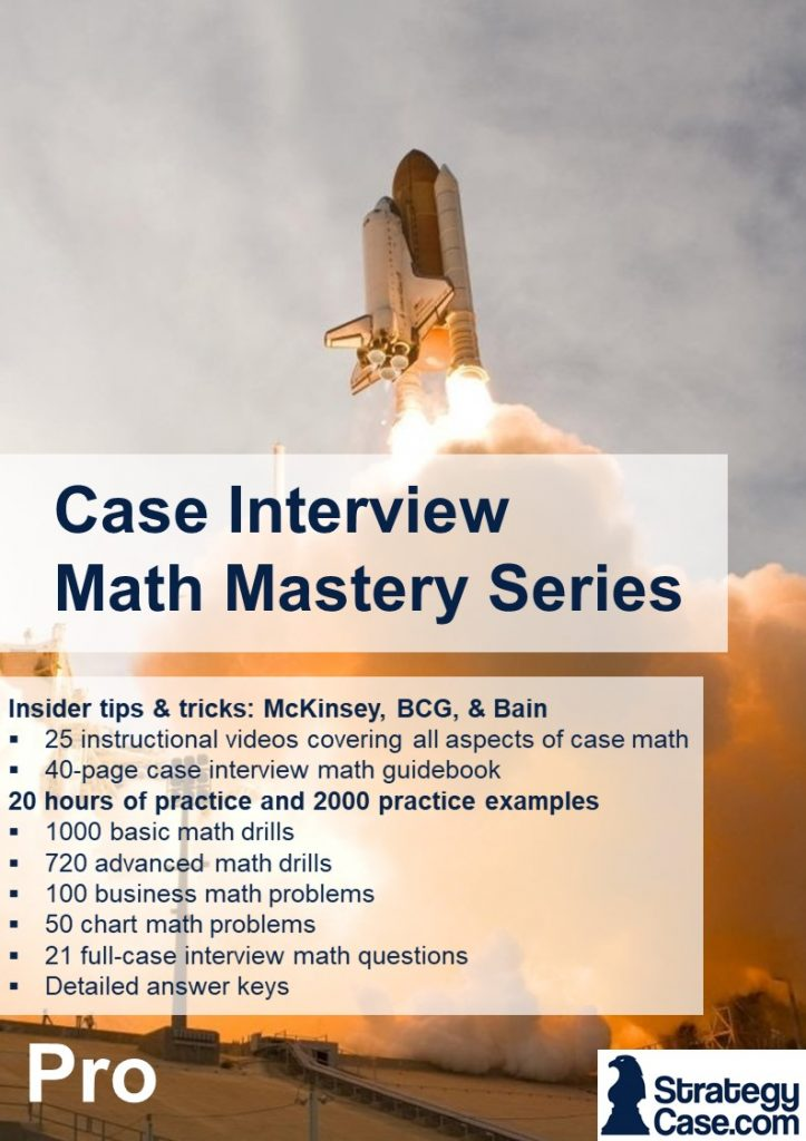 the image is the cover of the strategycase.com case interview math mastery package for mckinsey, bcg, and bain