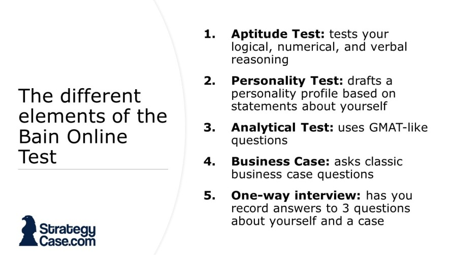 the image shows the 5 different formats of the bain online test