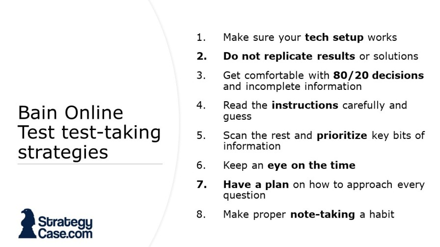 the image contains tips on how to take the Bain Online Test