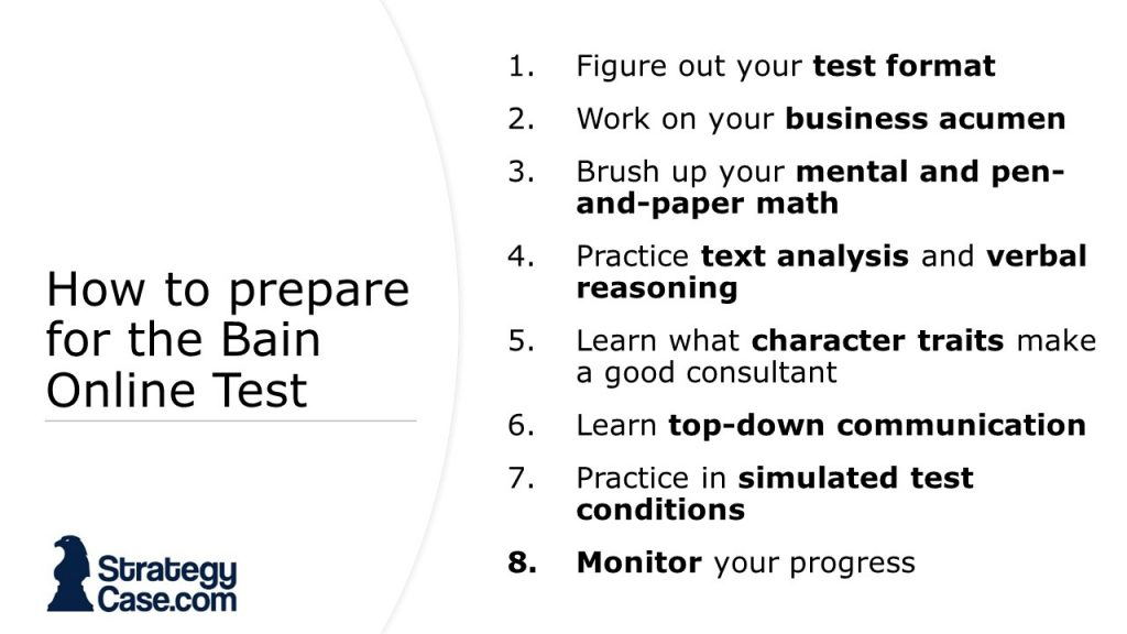 the image shows how to prepare for the bain online test
